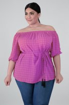 Plus Size Plaid Print Slash Neck Half Sleeve Tops YIF-1014