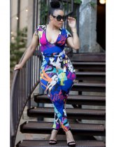 Fashion Print Low Cut Bodycon Jumpsuit MYP-8818