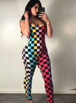 Colorful Plaid Backless Skinny Jumpsuit MOY-5030