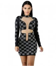 Sexy Plaid Print Diamonds Bodycon Dress CYA-8072