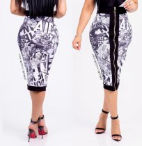 Fashion Print Zip Slim Midi Skirt SC-519