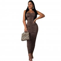 Sexy Strapless Ruching Bodycon Maxi Dress CHY-1123