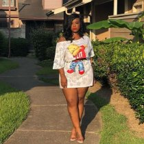 Plus Size Cartoon Print Slash Neck Top Mini Skirt 2 Piece Sets LP-6159