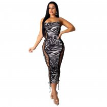 Zebra Stripes Sexy Strapless Lace Up Bodycon Midi Dress LUO-6209