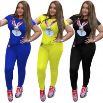 Rabbit Print Tracksuit Short Sleeve 2 Piece Set TE-3711