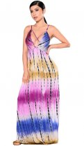 Fashion Tie Dye Open Back Sleeveless Hem Maxi Dress BY-5007