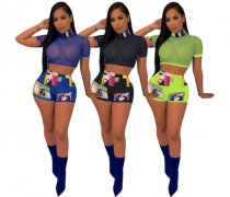 Printed Mesh Crop Tops And Bodycon Shorts Set WLS-9008
