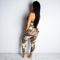 Sexy Leopard Print Strapless Lace Up Bodycon Jumpsuit BY-3230
