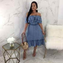OD-8132 New Off Shoulder Strapless Sexy Ruffles Denim Maxi Dress