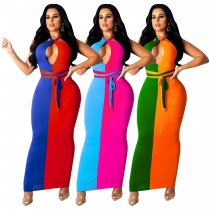 Sexy Patchwork Backless Off Shoulder Slim Long Maxi Dress SHD-9147