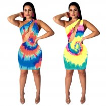 Sexy Printed One Shoulder Cut Out Mini Club Dresses TE-3722