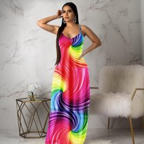 Rainbow Stripes Sexy Spaghetti Strap Sleeveless Maxi Dress PN-6202