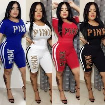PINK Letter Side Stripe Casual Sports 2 Piece Set OY-6008