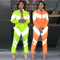 Patchwork Long Sleeve Tracksuit 2 Piece Set MDO-9003