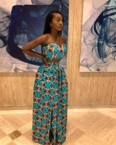 Printed Strapless Split Maxi Skirt Suit JUI-9112