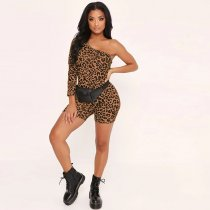 Sexy Leopard Print One Shoulder Bodycon Rompers BY-3277