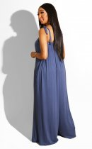 Solid Loose Strappy Sleeveless Wide Leg Jumpsuits BER-1858