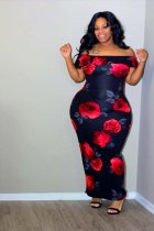 Plus Size Floral Print Slash Neck Long Maxi Dresses OMF-004