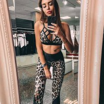 Sexy Leopard Print Strappy Yoga Fitness Two Piece Set SUM-82248