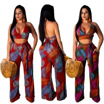 Leaf Print Halter Crop Tops Wide Leg Pant Suit YF-9348