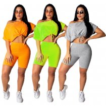 Solid Oblique Short Sleeve Shorts Two Piece Sets MDO-9043