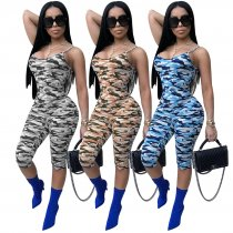 Camouflage Print Spaghetti Strap Skinny Playsuit TE-3612