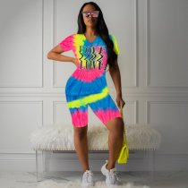 Tie Dye Print Short Sleeve Tees Shorts Two Piece Outfits CH-8052