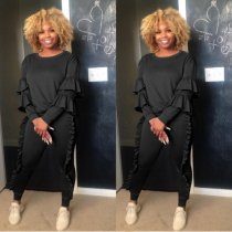 Black Ruffles Casual Tracksuit Two Piece Set PIN-8181