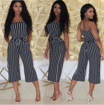 Striped Strapless Wide Leg Jumpsuit JUI-9005