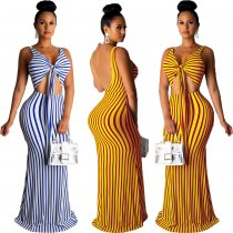 Striped Sexy Tie Up Sleeveless Big Swing Long Dresses OMY-5155