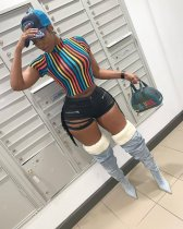 Plus Size Colorful Stripes Short Sleeve T Shirt CQ-5202