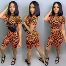 Striped Short Sleeve Shorts 2 Piece Set ARM-8066