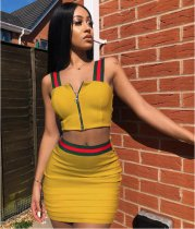 Red Green Stripe Splicing Zipper Skirts Suits ASL-6010 Yellow