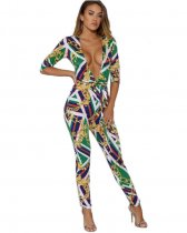 Chain Print Deep V Neck Jumpsuit CXM-8006