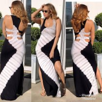 Sexy Printed Sleeveless Backless Side Split Maxi Dresses OMR-9592