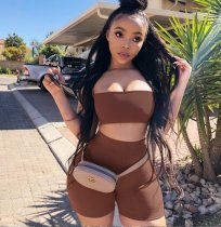 Solid Strapless Bodycon Shorts Two Piece Sets QZX-6045