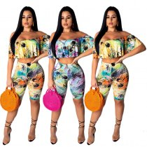 Slash Neck Print Sexy Two Piece Set YF-9344