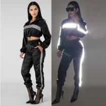 Reflective Patchwork Tracksuit Two Piece Set MDO-8031