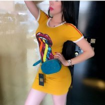 Seuqin Lips Print Short Sleeve Slim Mini Dress GS-1138