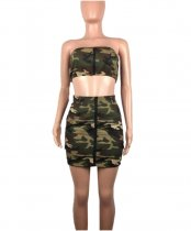 Camouflage Print Tube Top Mini Skirt Set MDO-9018