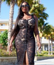 Black Lace Sleeveless Bodycon Midi Dress WZ-8123