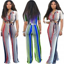 Striped Short Sleeve Tie Up Two Piece Pants Suit OMY-5137