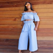 Sexy Off Shoulder Crop Top and Wide Leg Pants 2 Pieces ORY-5032