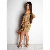 Striped Deep V Neck Hlaf Sleeve Belted Rompers CHY-1155
