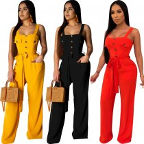 Button Front Wide Leg Jumpsuit OY-5311