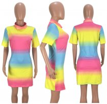 Rainbow Printed Short Sleeve Mini Dress OJS-9003