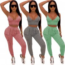 Sexy V Neck Strappy Fitness Two Piece Pants Set LUO-6215