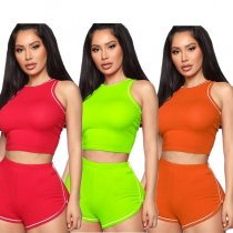 Sexy Sleeveless Bodycon Fitness Two Piece Shorts Set SMD-7017