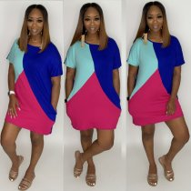 Color Block Spliced Short Sleeve Casual T Shirt Dresses LUO-6219