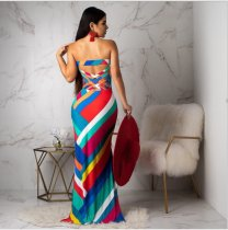 Colorful Geometric Print Strapless Maxi Dress SHA-6049